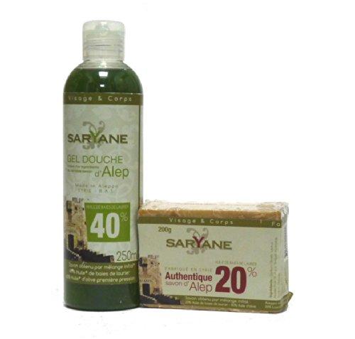 Preisvergleich Produktbild Saryane: Aleppo Seife & Duschgel, 2-teiliges Pflegeset - parfümfrei, trockene, reife , empfindliche Haut