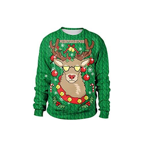 SWEAAY Unisex Hässliche Weihnachtsstrickjacke Santa Elf Pullover Damen Herren Pullover Tops Herbst Winter Kleidung, 7, XL