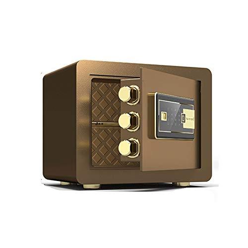 QUJHF Sicherer Haushalt kleine 25 / 35CM Fingerabdruck-Safe Smart Double Security Safe (Color : Brown)