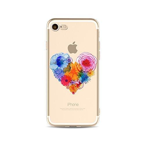 Coque iPhone 6 6s Housse étui-Case Transparent Liquid Crystal en TPU Silicone Clair,Protection Ultra Mince Premium,Coque Prime pour iPhone 6 6s-Coeur-style 1 3