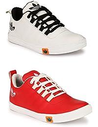 Lavista Men's Red And White Sneaker Casual Shoe