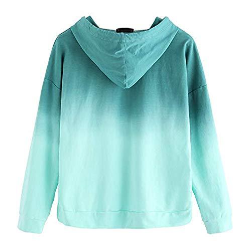 Damen Kapuzenpullover Cleanrance für Damen Mädchen Liusdh Patchwork langärmlig Farbverlauf Kapuzenpullover Pullover Sweatshirts Pullover Bluse für Schule Mädchen M grün -