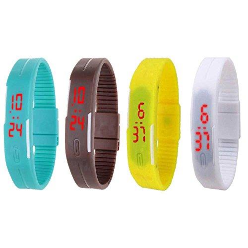 H.P.D. Digital Multi Dial Unisex Watch - H.P.DLBCof4Sbl+Br+Y+W