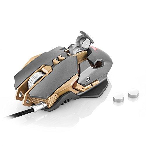 sinoband CW30Wired Gaming Maus 7Tasten Lasermaus 1.000Hz Gewicht Tuning 3Farbe Atmen LED-Licht, Silber in grau