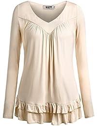DJT Damen Langarmshirt V-Ausschnitt T-Shirt Basic mit Gerafften Shirt