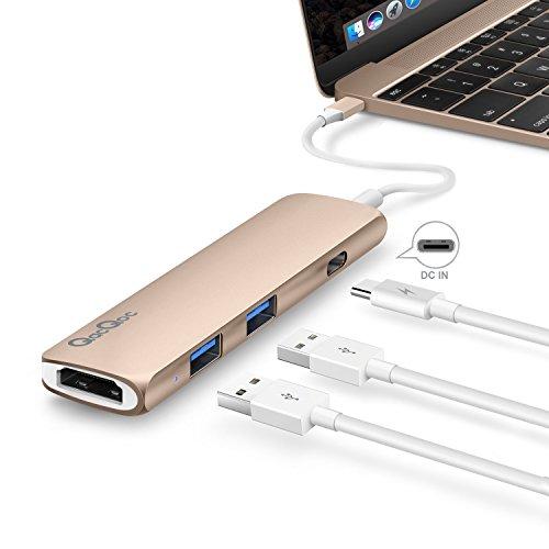 Preisvergleich Produktbild (SONDERANGEBOT) USB C Hub GN22B Multi-Ports Typ C Adapter mit 1 USB-C Ladeanchluss, 1 HDMI Port, 2 USB 3.0 Port s mit rasender Geschwindigkeit Aluminumgehäuse geeignet für Macbook 2015/2016 und Macbook Pro 2016Gold