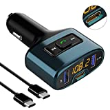 Transmisores FM para vehículos, URAQT Mini Manos Libres Emisor Bluetooth, Reproductor MP3 Coche y Adaptador de Radio, Cargador de Coche USB Doble y Puerto de Carga Type-C, para Móviles,Tablet