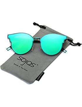 SOJOS Gafas De Sol Unisex Modernas Retra Forma Pantos Lentes Redondas Espejo SJ1055