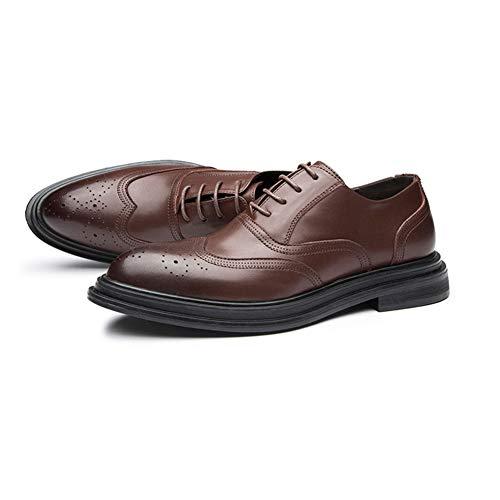 LXYIUN Herren Business Schuhe,Geschnitzt Formell gekleidet Freizeit Einzelne Schuhe Lackleder britischer Stil Gezeiten Schuhe,Brown,40 -