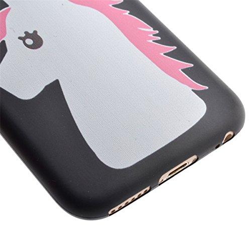 Voguecase® Per Apple iPhone 5 5G 5S, Custodia Silicone Morbido Flessibile TPU Custodia Case Cover Protettivo Skin Caso (Nero - unicorno) Con Stilo Penna Nero - unicorno