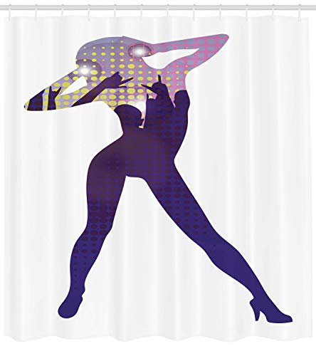 vorhang, Tänzer Junge Dame in High Heel, mit 12 Ringe Set Wasserdicht Stielvoll Modern Farbfest und Schimmel Resistent, 175x180 cm, Mehrfarbig ()