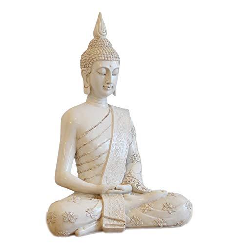 Thai Buddha Weiß Statue groß 40 cm Sitzend Buddhafigur Zen Deko-Figur für Garten oder Wohnzimmer