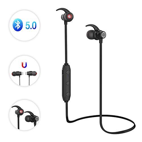 LOBKIN Cuffie Bluetooth, Auricolari Magnetici Sport Bluetooth 5.0 Ultraleggere Wireless Headset Impermeabili IP4, 6 Ore di...