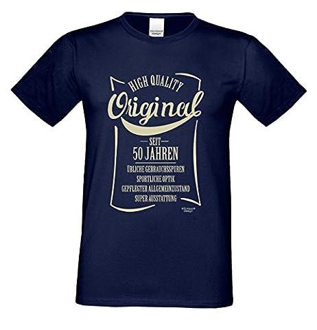 Geschenkidee Papa Geschenk zum 50. Geburtstag Original seit 50 Jahren :-: Herren Geburtstags kurzarm T-Shirt :-: auch in Übergrößen 3XL 4XL 5XL Farbe: navy-blau Gr: (Geschenk Ideen Dad Geburtstag)