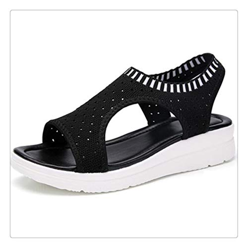 happy&live Women Sandals Summer 2019 Female Shoes Woman Wedge Comfortable Sandals Ladies Slip-on Flat Sandals Women Sandalias W509 1 8.5 - Leopard Vamp Denim