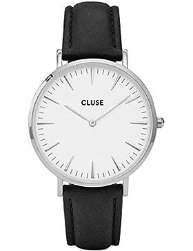CLUSE Armbanduhr La Bohème Silber Leder Schwarz