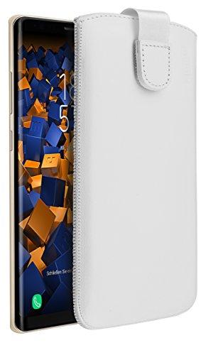 mumbi ECHT Ledertasche für Samsung Galaxy Note8 Tasche Leder Etui weiss (Lasche mit Rückzugfunktion Ausziehhilfe)