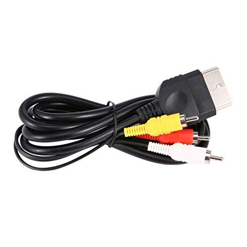 Audio Video Composite Cable AV 3 RCA Wire Cord for Xbox Original Classic Black 3 Rca Composite-video