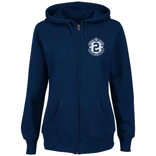 Majestic Derek Jeter #2 New York Yankees Women's Small Pinstripe Logo Hooded Hoodie Jacket / Sweatshirt - Navy Blue by Majestic Athletic