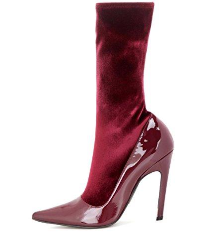 Femmes Mi-mollet chaussettes Bottes Stylet Haute Talons Pointu Étendue Velours Piqûre Brevet Cuir Démarrage L'automne Hiver Grand Taille 35-45