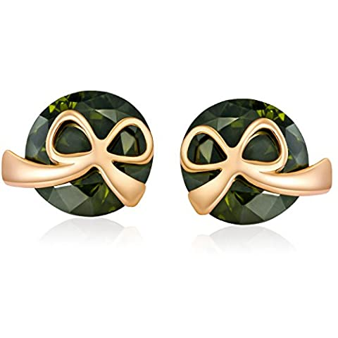 YAZILIND Fashion Bow Tie Stud Earrings with Green Cubic Zirconia Gold Plated for Women