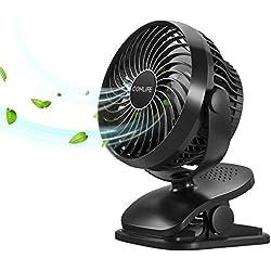COMLIFE Mini Ventilateur à Pile Avec Batterie 5200 mAh,USB Ventilateur Portable Avec 4 Vitesses Du Vent,Rotation De 360 °,Fonction D'aromathérapie,Vent Puissant Pour Poussette,Camping,Bureau,Voiture