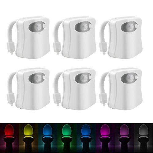 JIALUN- LED Sensor aktiviert Bad WC Nachtlicht LED Bewegung mit 8 Farbwechsel batteriebetriebenen Waschraum