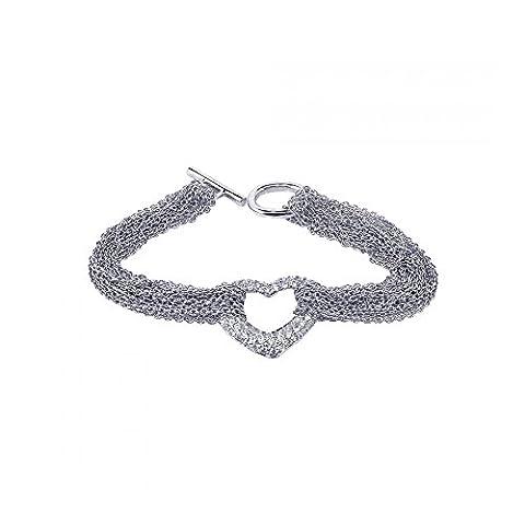 Rhodium beschichtet Sterling Silber Mehrfach Kette offenees Herz Micro Pave klare Zirkonia Armkette
