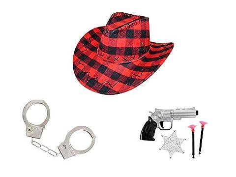Kit de déguisement (KV-100) cowboy cowgirl 6 accessoires: chapeau + pistolet + 2 fléchettes + étoile SHERIFF + Paire de menottes pour adulte homme femme soirée déguisée à theme cow boy western