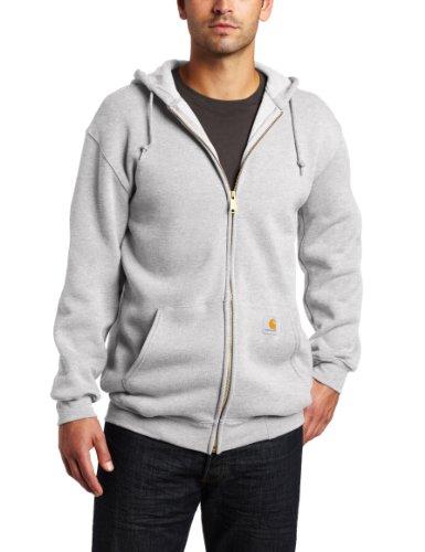 Carhartt Men's Big & Tall Midweight Sweatshirt Hooded Zip Front Original Fit K122,Heather Grey,XXXX-Large K122 Zip-front Sweatshirt