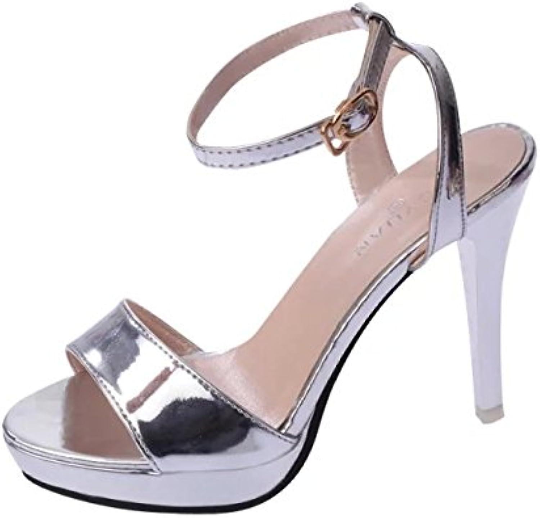 Sandalias De Tacón Mujer Verano Parte Superior Transparente Punta Abierta Rivet Zapatos De Tacón Alto Zapatillas -