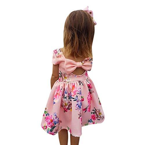 Innerternet Baby Mädchen Ärmellos Blumendruck Bowknot Prinzessin Rock Sommer Taufe Kleid Party Festzug Kleid (Deluxe Eis Prinzessin Kostüm)