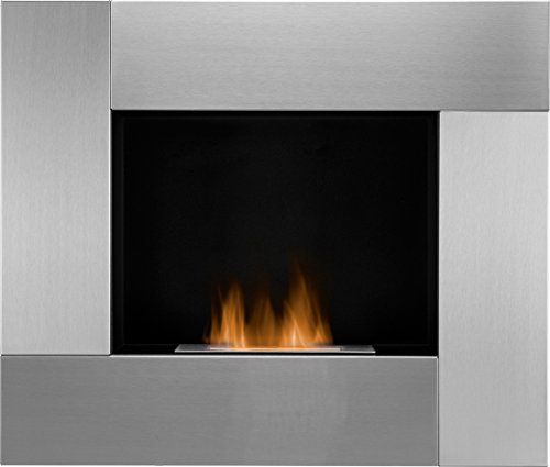 Adam The Galaxy Wall Mounted Bio Ethanol Fire in Stainless Steel, 31 Inch