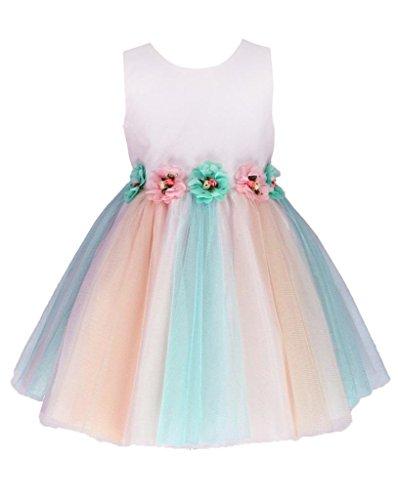 Go2victoria Tulle abito da sera, bambine e bimbe, battesimo, vestito 18 mesi, rosa & multicolore (P8812b-L)