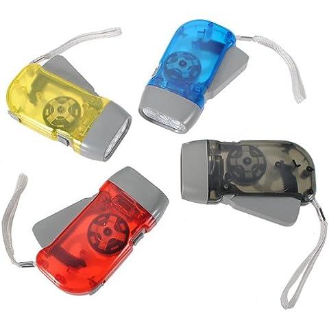 Mano Presionando 3 LED Dynamo viento UP NB linterna antorcha color opcional.