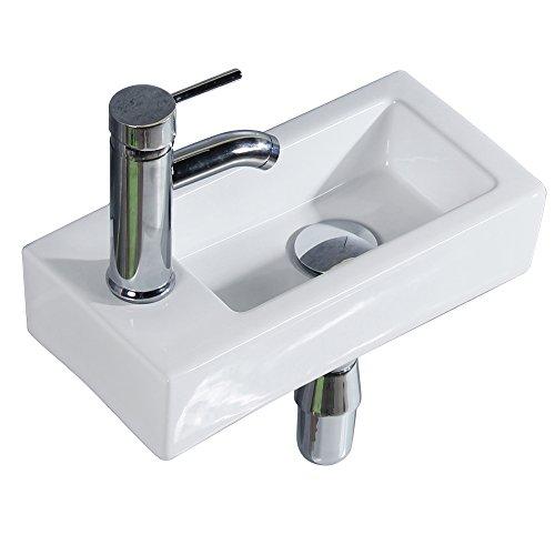 Gimify Mini Lavabo de pared sobre encimera per baño (Left Hand 370 * 185 * 90mm)