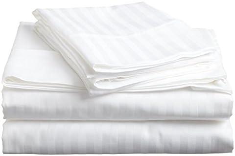 British Choice Linen Egyptian Cotton 400-Thread-Count Sateen Double/Small Double Size 5 PCs Set (1 Duvet Cover Zipper Closer & 4 Pillow Cover), White