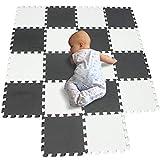 BUCHAQIAN Foam Puzzle Play Mat Kids Multi-Color Safe Área de Juegos para bebés Acolchado Suave Protección del Piso EVA Entrelazado de Azulejos no tóxicos Blanco Negro 101104
