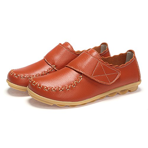 Pelle Mocassini Donne Eleganti Loafers Velcro Comfort Scarpe da Barca Arancia Nero Bianco Rosso 35-41 Nero