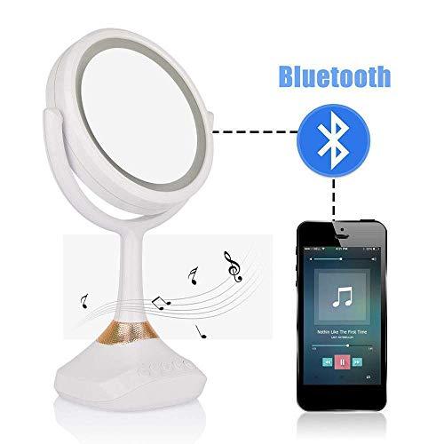LIUJIE Bluetooth Lautsprecher Kosmetikspiegel mit Spiegel LED Tischlampe Spiegel 1X / 5X Lupe Wiederaufladbare Tischlampe Kosmetikspiegel (Kindle-flash-laufwerk)