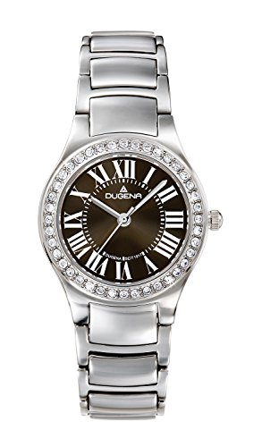 Dugena Women's Elegant Quartz Watch with Black Dial Analogue Display and Silver Stainless Steel Bracelet