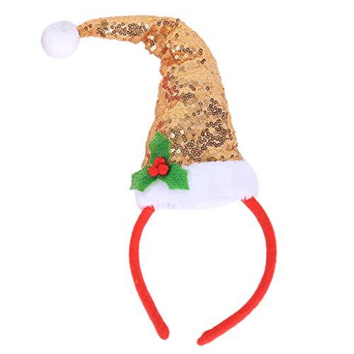 Cuigu Haarband - Schöne Weihnachten Haar Dekor Santa Claus Hut Haarband Glitter Pailletten Blätter Stirnband Für Kinder