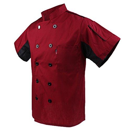 MagiDeal Herren und Damen Kurzarm atmungsaktiv Kochjacke mit Paspel und Knöpfe im verschiedenen Farben - Rot, XL - 3