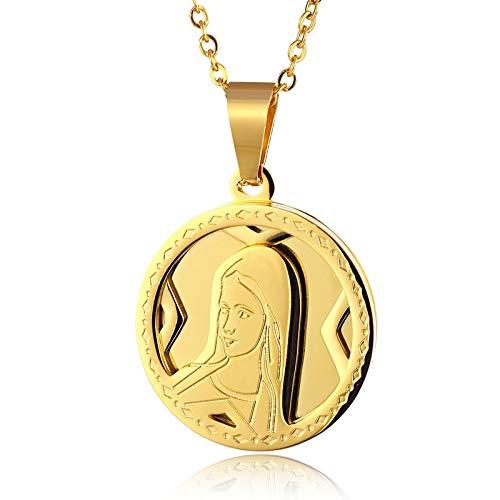 DADATU Collar Hombre Virgen Católica María Collar Cadena De Oro Acero Inoxidable Ronda Medalla Virgen Guadalupe Colgantes Collares para Joyería Religiosa