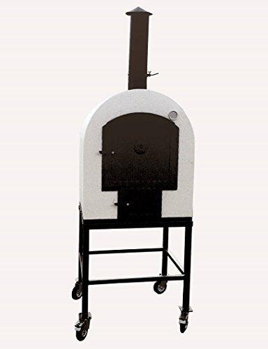 Steinbackofen für den Garten, 77x77cm ✓ Doppelkammer ✓ Schamottstein ✓ Gedämmter Gartenbackofen | Mobiler Holzbackofen, Holzofen für draußen | Outdoor Flammkuchen-Ofen, Brot-Backofen, Pizzaofen mit Holz-Feuerung