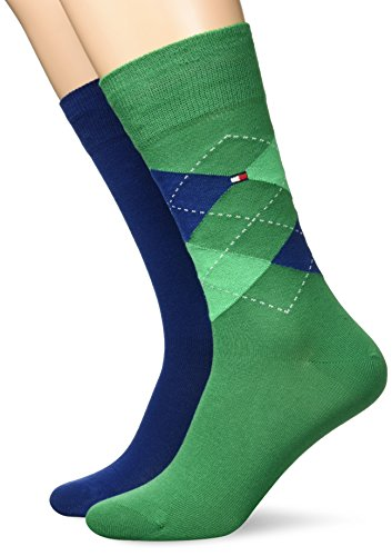 Tommy Hilfiger Herren TH Men Sock Check 2P 2er Pack, Grün (Green 327), 43/46 (Argyle-socken 2)