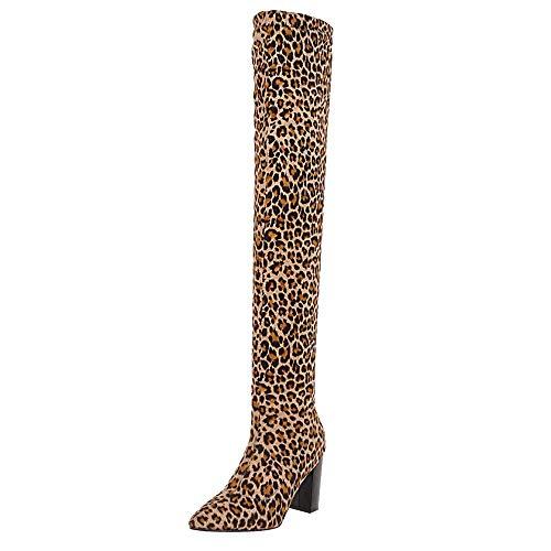 Beikoard Damen High Heel Stiefel Overknee Stiefel Winterstiefel Für Damen Mit Absatz Art Schuhe Damen Spitzen Stiefel für Damen mit Leopardenmuster Schlank High Heel Lange Stiefel