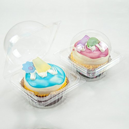 100 New Style Large Clear Single-Serving Cupcake Containers by QQ Studio Group (Single Cupcake-container)