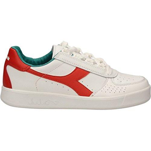 Diadora B.Elite hommes, cuir lisse, sneaker low blanc/rouge