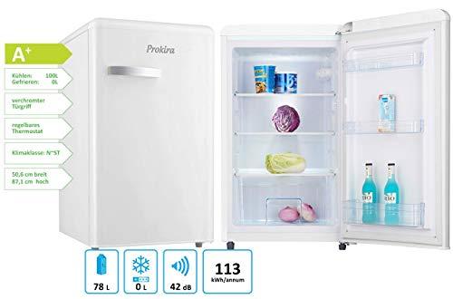 ProKIRA PR105 WE Kühlschrank/Retro PopArt/Freistehend/Höhe 88 cm/A+ / 101 l